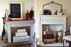 Vintage Suitcases | Decorate Your Non-Working Fireplace