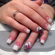 White and silver and dark pink