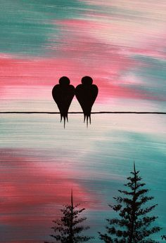 Original Abstract Acrylic Painting Canvas Time Stands Still Love Birds On Wire…