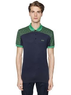 BOSS GREEN - TWO TONE PRINTED FINE PIQUÉ GOLF POLO - LUISAVIAROMA - LUXURY SHOPPING WORLDWIDE SHIPPING - FLORENCE
