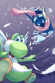 Great fanart of Yoshi and Greninja.  I like how Yoshi has his wings, just like in his final Smash for Smash Brawl.  Who knows where they're falling, but looking at the background it appears as if they're about to hit something.  Great use of color blend here.
