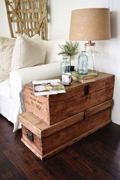 Oversized trunks, stacked up for  end table! Love it