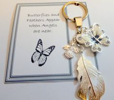 Butterflies and Feathers Appear when Angels are Near Memorial Remembrance Sympathy Guardian Angel Butterfly & Heart Ke Ring Key Chain by JanbroCharmingGifts on Etsy