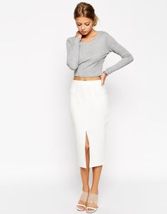 ASOS Premium Pencil Skirt with Binding Detail ( Ecru)  UK/:12   RRP £32.00