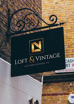 Elegáns logó a Loft & Vintage részére. Sign Board Design, Broadway Shows, Signs, Studio, City, Modern, Vintage, Elegant, Classy