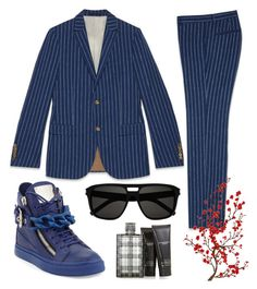 """""""32"""" by djinotdjinot on Polyvore featuring Gucci, Giuseppe Zanotti, Yves Saint Laurent, Burberry, men's fashion, menswear, suit and MensFashion"""