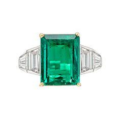 Betteridge Collection Colombian Emerald-Cut Emerald & Diamond Ring.