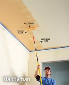 To minimize lap marks on large areas like ceilings, extra-tall walls or stairwells, roll the nearly dry roller in different directions along the dry edge, feathering out the paint as you go to prevent the buildup that causes lap marks. After completing the entire length of the wall or ceiling, move to the next section and paint over the feathered edges, painting in the opposite direction. This crisscrossing paint application sharply reduces (if not eliminates) lap marks. Professional Painters, Home Repairs, Painting Trim, Painting Ceilings Tips, Diy Painting, House Painting, Renting, Paint Stain, Decoration