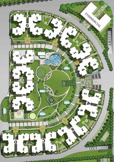 Good example of good architecture and urban design concept to create a strong connection of the open space to the surrounding residential structures Social Housing Architecture, Architecture Site Plan, Landscape Architecture Drawing, Landscape Design Plans, Concept Architecture, Urban Landscape, Residential Architecture, Urban Design Concept, Urban Design Plan