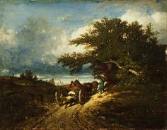 Jules Dupré (French, On the Road, 1856 Oil on canvas x inches Barbizon School, Virtual Field Trips, Classic Paintings, Poster Pictures, Art Institute Of Chicago, Art School, Painting & Drawing, Landscape Paintings, Oil On Canvas