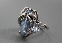 Ring Sterling Silver Huge Kyanite Two light blue Topaz dark blue from elenakook on Ruby Lane