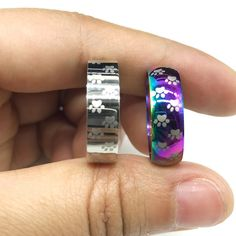 Cat Dog Paw Ring Stainless Steel Rainbow