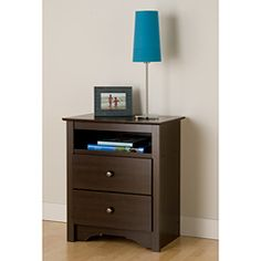 @Overstock - Nightstand is attractive and trendyBedroom furniture features an open shelf perfect for bedside reading material, two full-sized drawers, a profiled top, side moldings and an arched kick-plateNightstand has metal knobshttp://www.overstock.com/Home-Garden/Ellsworth-Espresso-Tall-2-drawer-Night-Stand/3917800/product.html?CID=214117 $96.04