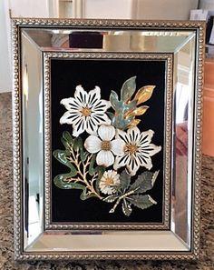 Vintage & Costume Jewelry Framed Flower Bouquet Art
