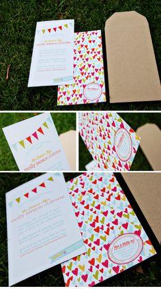 pennant flags on invitations via Wiley Valentine. #weddinginvitations #invites