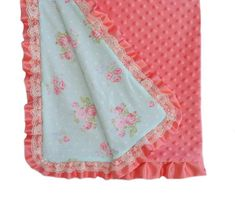 Country chic baby blanket, coral minky baby blanket, baby blanket lace, baby bedding roses