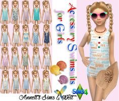 Sims 4 CC's - The Best: Accessory Swimsuits for Girls by Annett85