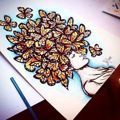"Butterfly Ladey  by Sofia Castellanos #porquemexicolopidio #osomness  #hairdress #art #illustration #artist #iphonesia #instagram #comeback #iloveit"""
