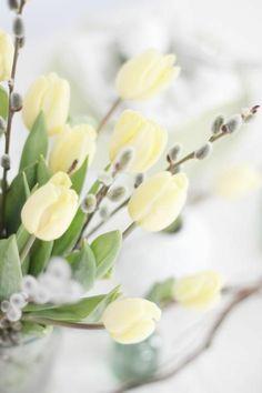 blumendeko weidenkätzchen und tulpen einrichtungsideen