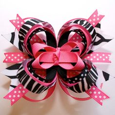 Zebra Stripes and Polka Dots... Pink and Black Stacked Boutique Hair Bow