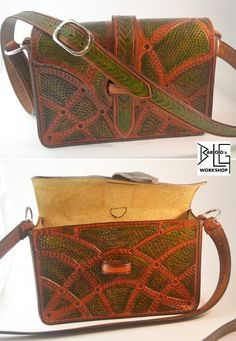 Leather Green Reptile tooled bag by barlogg