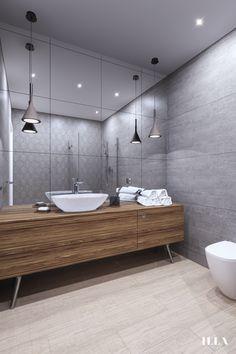 Łazienka beton i drewno - Illa Design Projektowanie wnętrz Kraków, wizualizacje wnętrz, projektowanie ogrodów, wizualizacje produktów Contemporary Bathrooms, Modern Bathroom, Small Bathroom, Bathroom Repair, Bathroom Installation, Minimalist Bathroom, Bathroom Colors, Home Decor Inspiration, New Homes