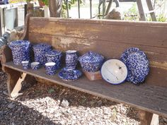 A variety of Cobalt Blue and White Spongeware made at Forks Road Pottery, Grimsby, Ontario.