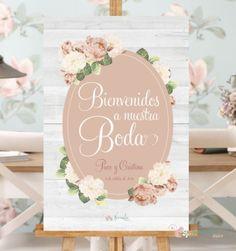 cartel de boda de estética romántico
