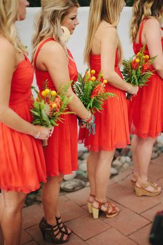 coral bridesmaids dresses, photo by Matthew Morgan http://ruffledblog.com/southwestern-san-clemente-wedding #coral #bridesmaidsdresses #wedding