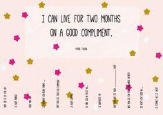 Geef eens wat vaker een compliment! Free printable.