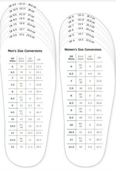 Womenu0027s Shoes   Shoes Measurement Chart For Printable Adult (men And Woman)  Shoes Sizing Chart For Printable   Clothing, Shoes U0026 Accessories, Womens  Shoes, ...