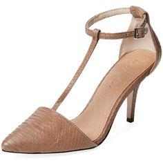 Maiden Lane Hope T-Strap Pump ($99) ❤ liked on Polyvore featuring shoes, pumps, t strap shoes, platform pumps, court shoes, famous footwear and high heel platform pumps