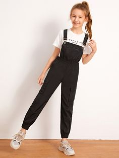 To find out about the Girls Flap Pocket Windbreaker Overall Jumpsuit at SHEIN IN, part of our latestGirls Jumpsuits ready to shop online today! Teenage Girl Outfits, Dresses Kids Girl, Kids Outfits Girls, Cute Girl Outfits, Cute Outfits For Kids, Cute Casual Outfits, Preteen Fashion, Girls Fashion Clothes, Teen Fashion Outfits