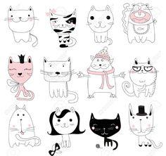 Набор 12 Вектор милые каракули кошек аватары Клипарты, векторы, и Набор Иллюстраций Без Оплаты Отчислений. Image 49421983.