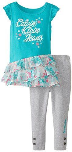 Calvin Klein Little Girls' Ruffled Tunic with Gray Pants