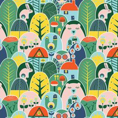 Chalet in the Alpine mountains  // trees forest animals chalet and mountains fabric by ruth_robson on Spoonflower - custom fabric