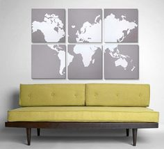 Large scale art | modern world map painting | via rightgrain on etsy.  Wouldn't it be neat to add dots on all the places we have traveled!