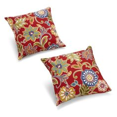 Blazing Needles 18 x 18 in. Patterned Outdoor Throw Pillows - Set of 2 Alenia Pompeii - 9910-S-2-REO-40