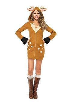 Our Cozy Fawn fleece costume features zipper front fleece dress with hood with large fuzzy ears and antlers and attached furry fawn tail.This Cozy Fawn Fleece c Animal Costumes, Adult Costumes, Costumes For Women, White Costumes, Trendy Halloween, Cute Halloween Costumes, Halloween Ideas, Halloween Parties, Halloween 2016