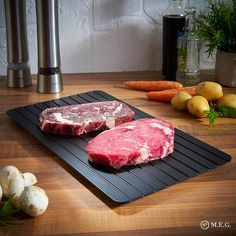 Fast Defrosting Meat Tray chopping board Rapid Safety Thawing Tray Quick Thawing Plate For Frozen Food Meat Kitchen tool (Discount: 9 % ) Lamb Chops, Pork Chops, Meat Trays, Meat Fruit, Fruit Fast, Food Out, Small Meals, Kitchen Gadgets, Kitchen Tools