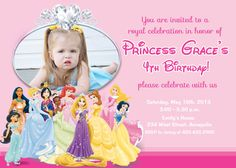 Disney Princess Birthday Party Invitation  by PrettyPaperPixels, $8.99