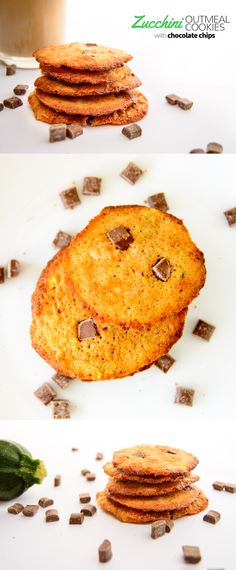 Zucchini oatmeal cookies with chocolate chips   myzucchinirecipes.com #healthysnacks