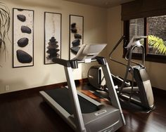 A home gym that is functional and pretty. Let's assume it's facing a huge flat-screen television.