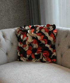 Rose Petals Square Red/Black/Off White Pillow Texture, Luxury Decor, Rose Petals, Off White, Couch, Shapes, Pillows, Floral, Fabric