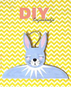 diy clothes hanger, kledinghanger, konijnenhaakje, konijn, rabbit #diy