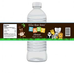 Custom Personalized Animal Safari Baby Shower Water Bottle Label Matches Invitation and Cupcake Toppers and Stickers - Digital Print. $6.99, via Etsy.