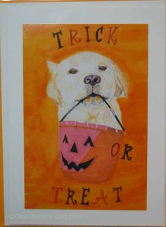 Animal art  Dog Halloween Card Labrador by overthefenceart on Etsy
