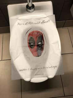 Deadpool's on a Comic-Con toilet seat cover because of course he is -  http://bit.ly/2uKeKIK Information Society