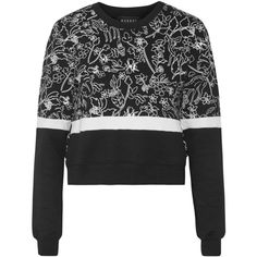 Markus Lupfer Katie printed cotton-jersey sweatshirt (£78) ❤ liked on Polyvore featuring tops, hoodies, sweatshirts, black, cotton jersey, markus lupfer sweatshirt, boxy sweatshirt, markus lupfer top and short tops