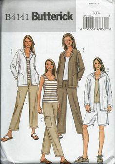 Butterick 4141 Misses Jacket, Top, Shorts and Pants Pattern, Size L-XL  UNCUT by DawnsDesignBoutique on Etsy